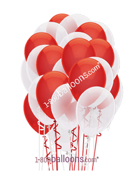 Red & White Latex Balloons Flower Arrangement