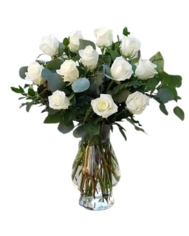 White Roses for Sympathy Flower Arrangement
