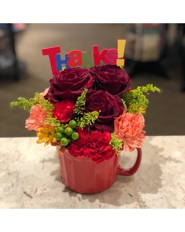 Overflowing with Gratitude Mug Flower Arrangement