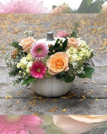 Peaches and Cream Pumpkin Flower Arrangement