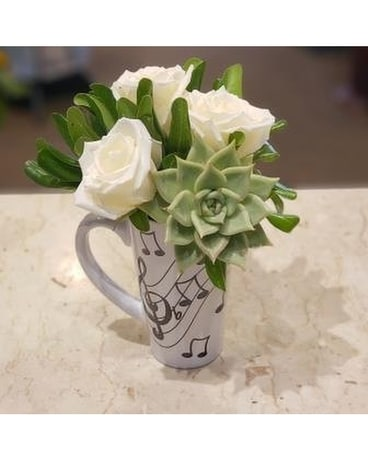 Music Mug Flower Arrangement