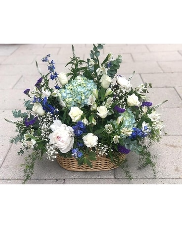 Farm Fresh Blue for Funeral Sympathy Arrangement