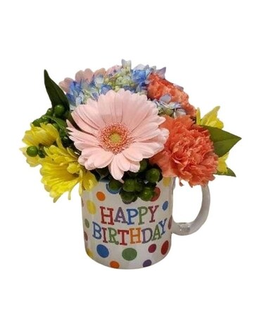 Birthday Mug Arrangement Flower Arrangement