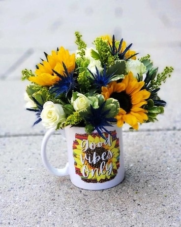 Good Vibes Only Mug of Flowers Flower Arrangement