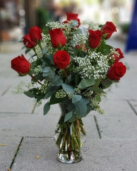 Our Medium Stem Red Roses Flower Arrangement