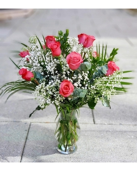 Our Medium Stem Pink Roses Flower Arrangement