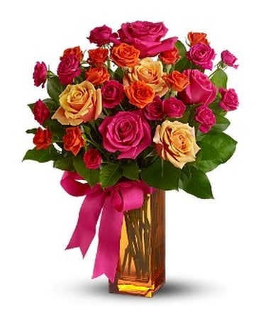 Teleflora's Sunset Kiss - by Lovebird Flowers Inc Flower Arrangement