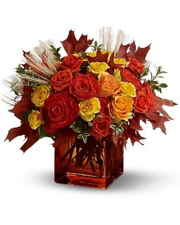 Teleflora's Fine Fall Roses Flower Arrangement