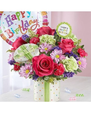 Lovebirds Happy Birthday Gift Flower Arrangement