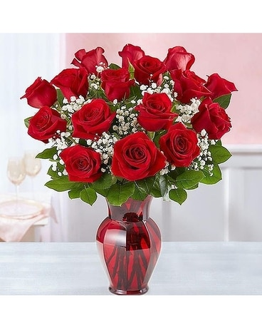 Crimson Rose Arrangement by Lovebird's Flowers