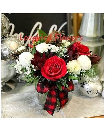 Buffalo Plaid & Roses by Lovebird Flowers
