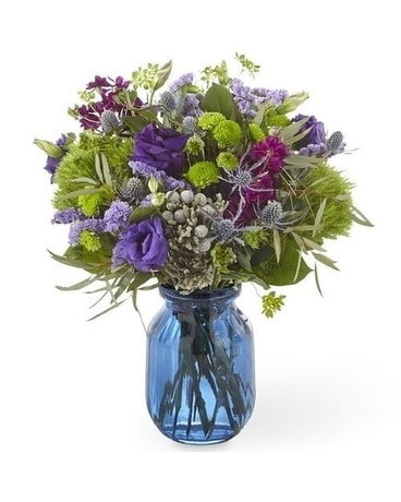 Out Of The Blue by Lovebird Flowers Flower Arrangement
