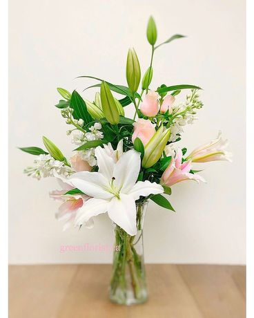 Lily and Blush Flower Arrangement