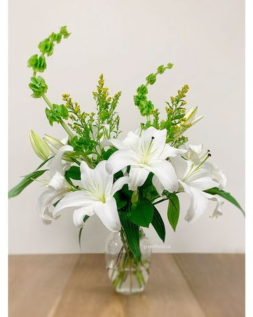 Faith in White Flower Arrangement