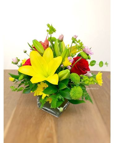 Best Wishes in low vase Flower Arrangement