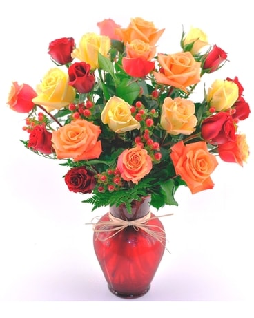 Autumn Enchantment Roses Flower Arrangement