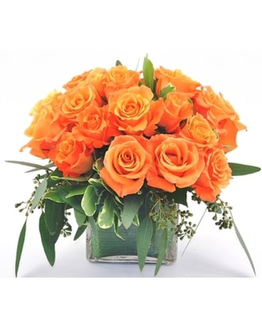 Rose Cube-Orange Flower Arrangement