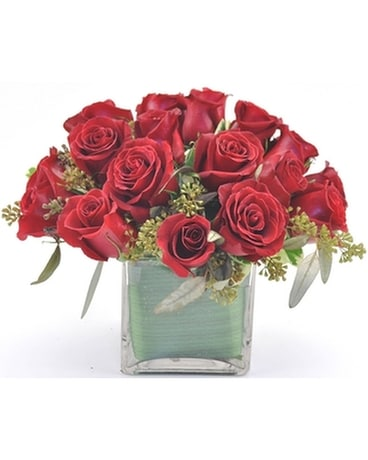 Red Rose Cube Flower Arrangement