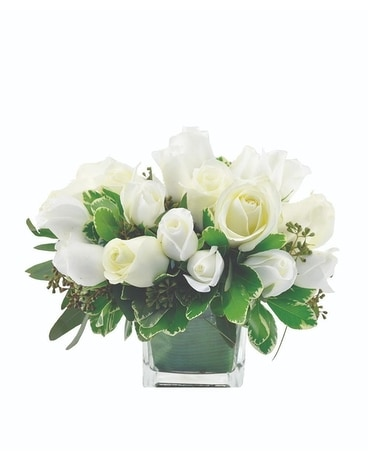 White Rose Cube Flower Arrangement