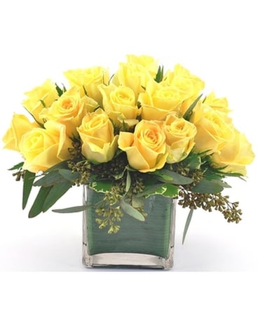 Yellow Rose Cube Flower Arrangement