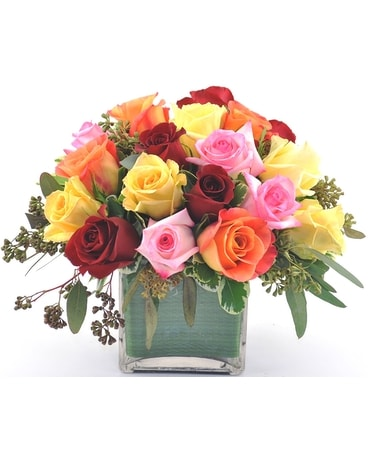 Assorted Colors Rose Cube Flower Arrangement