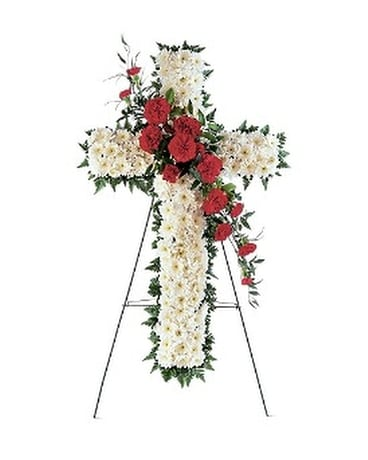 Hope and Honor Cross Flower Arrangement