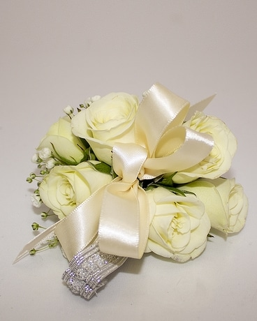 Corsage-Spray, White w/Silver Wristlet Flower Arrangement