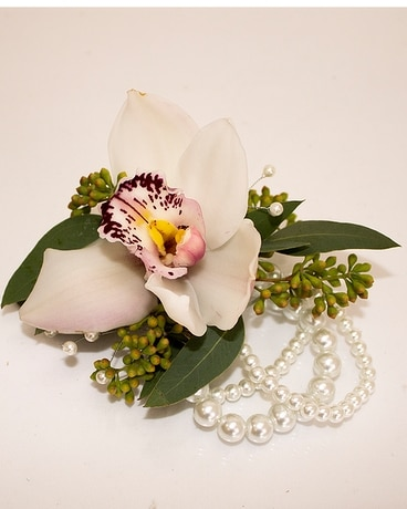 Single Bloom Cymbidium Orchid Corsage w/PW Flower Arrangement