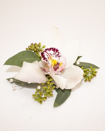 Single Bloom Cymbidium Orchid Corsage w/PW & PB Flower Arrangement