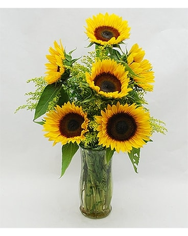 Sunflowers and Roses Flower Arrangement