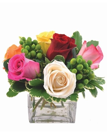 Mini Rose Cube Assorted Flower Arrangement