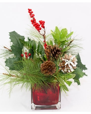 Winter Celebration Cube Flower Arrangement