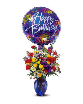 Birthday Fireworks Deluxe Flower Arrangement