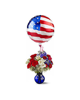 Red White & Balloon Flower Arrangement
