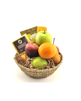 Fruit & Cheese Basket Flower Arrangement