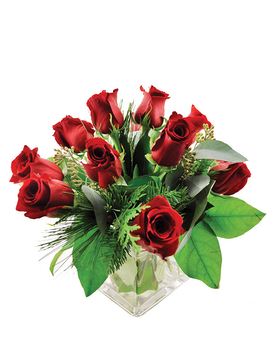 Winter Red Roses Flower Arrangement
