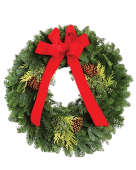 24 Inch Evergreen Wreath Flower Arrangement