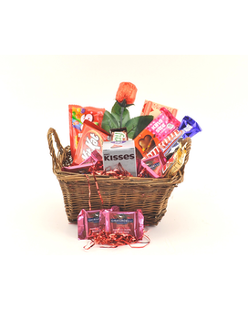 Valentine Gift Basket Flower Arrangement
