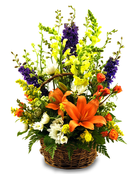 Summer English Garden Basket Flower Arrangement