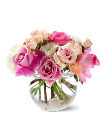 Pink Roses In An Oval Vase In Mobile Al Cleveland The Florist