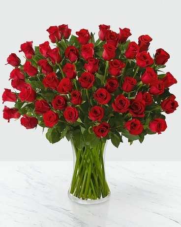 Fifty Long Stem Red Roses Flower Arrangement