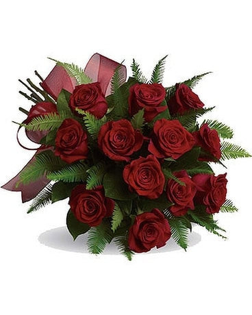 Dozen Hand Tied Red Roses Flower Arrangement