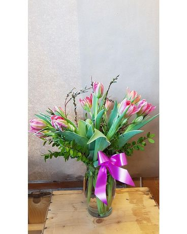 Precious Pink Tulips Flower Arrangement