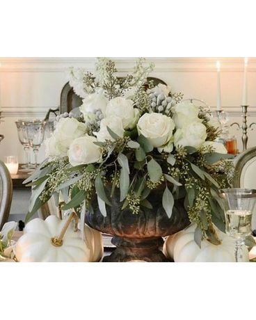 White Rose Urn Topper Flower Arrangement