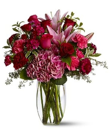 Burgundy Blush - by Pick Me Up Flowers Flower Arrangement