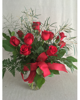 1 dozen red roses in a vase Flower Arrangement