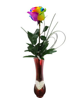 Simple Rainbow Roses Flower Arrangement