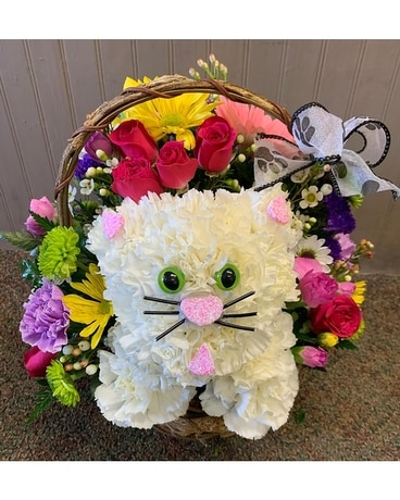 Cheerful Kitten Bouquet Basket Arrangement