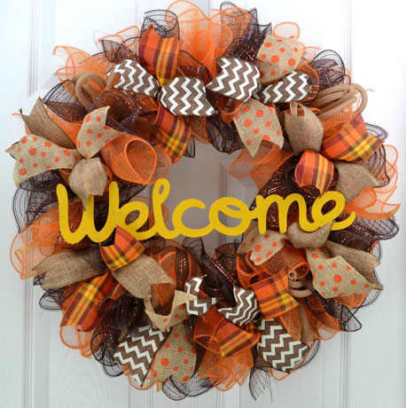 Burlap and Mesh Welcome Wreath Floral Design Class