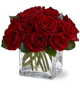 Gorgeous Red Roses in a modern cube arrangement
